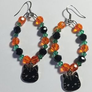 Handmade Black Cat Halloween Hoop Earrings